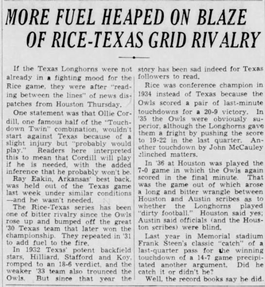More Fuel Heaped on Blaze of Rice-Texas Grid Rivalry -