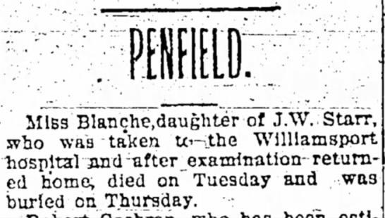 Blance Starr obituaryWilliamsport Sun-Gazette Oct 3 1903 -