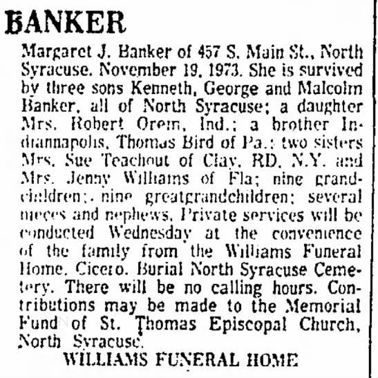 Margaret Banker Obiturary -