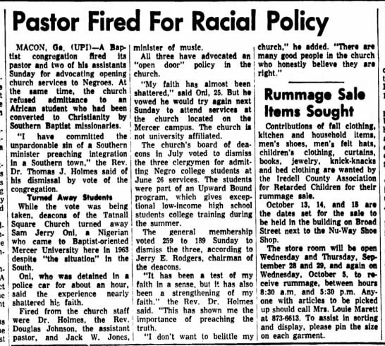 oni 20 - Pastor Fired For Racial Policy MACON, Oa....