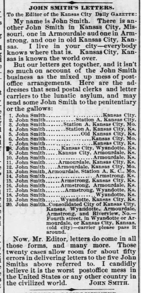 """John Smith"" causes post office mix-ups (1888) -"