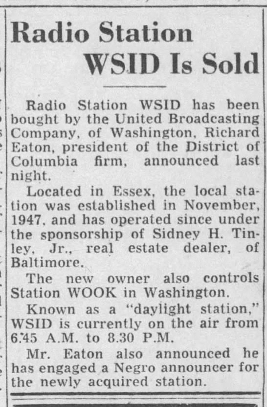 Radio Station WSID Is Sold -