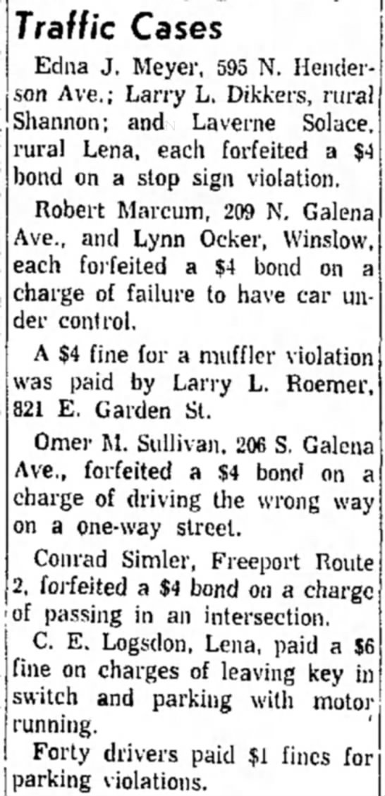 Freeport Journal-Standard, 15 February 1961, The Daily Record, Traffic Cases -
