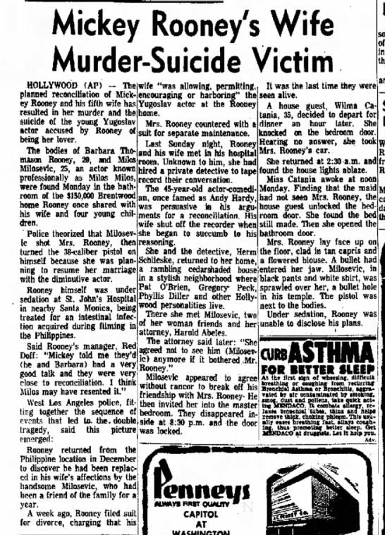 Mickey Rooney's wife-murder suicide -