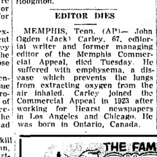 Jack Carley OBit in Wellsbille Daily Reporter Wednesday, February 21, 1962 -