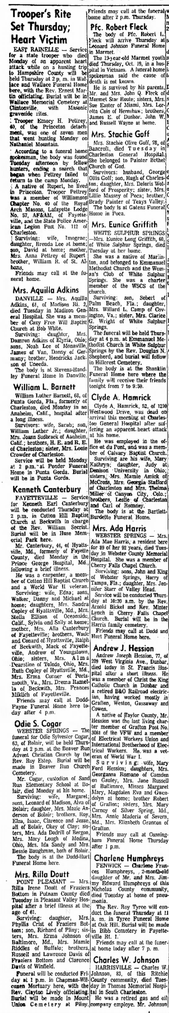 Obituary of Mrs  Rilla Davis Doutt from the Charleston (WV