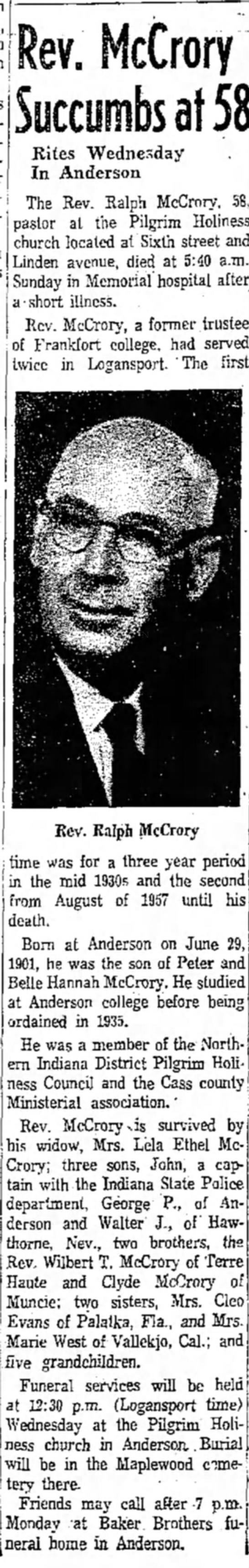 Ralph McCrory Obituary - Logansport Pharos-Tribune  07 Dec 1959 -