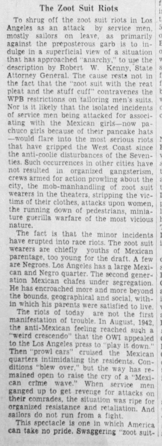 Excerpt from an editorial identifying the Zoot Suit Riots as race riots -