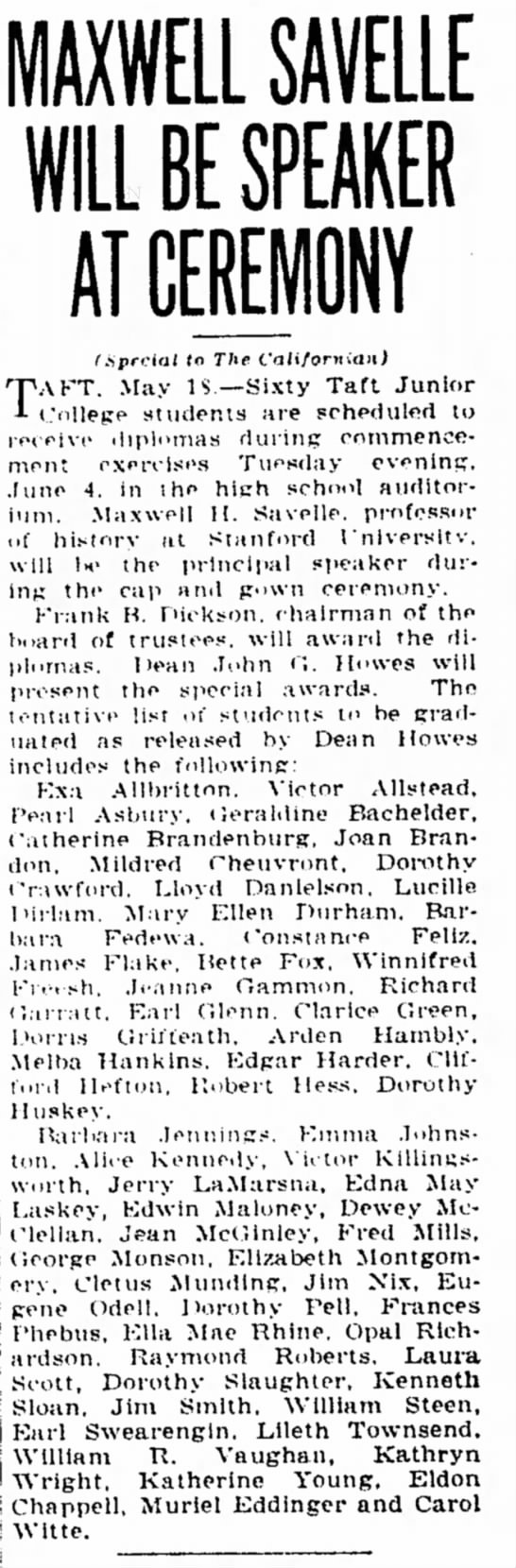 Muriel Eddinger Graduation from Taft Junior College, May 18, 1940