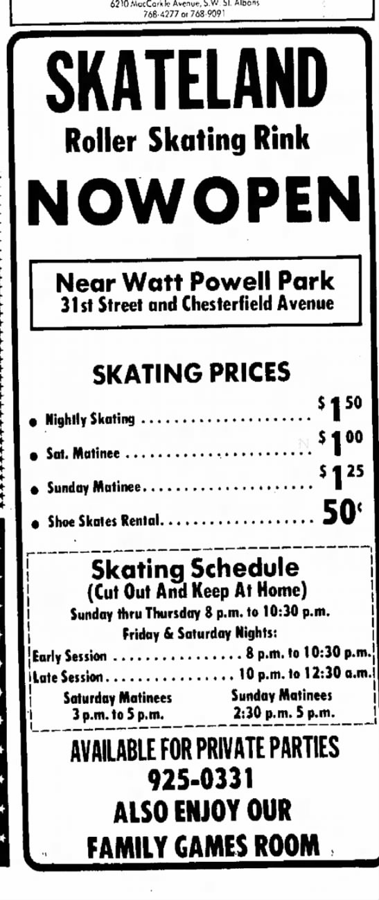 Skateland - Chesterfield Avenue - Charleston, WV -