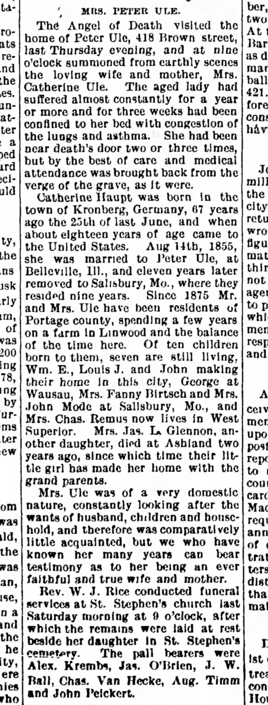Mrs. Peter Ule 