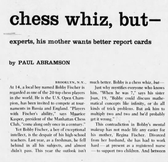 Only 14, he's a chess whiz (Column 2) -