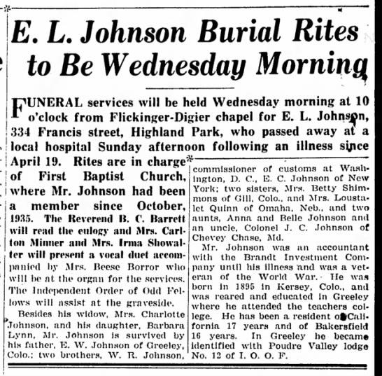 Lynn Johnson Burial Rites - Bakersfield Californian, 16 Sep 1940 p10 -