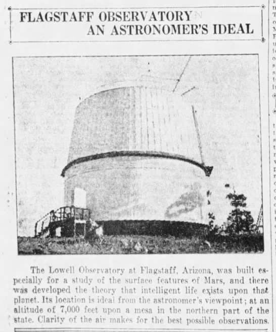 Lowell Observatory at Flagstaff, 1924 -