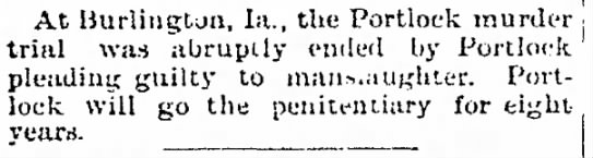 William Portlock-murder; The Davenport and Leader, Feb. 12, 1892 page 3 -