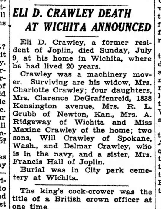 joplin globe 21 jul 1944 eli crawley - will 1944? it arrange of world u r e . our...