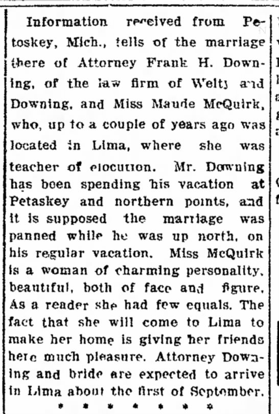 Frank H Downing Maude McQuirk marriage - 12 Aug 1908, Lima News, Lima OH -