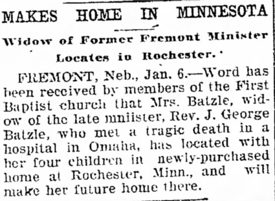 Mrs J. George Batzle makes home in Omaha - MAKES HOME IN MINNESOTA -\Vidow of Former...