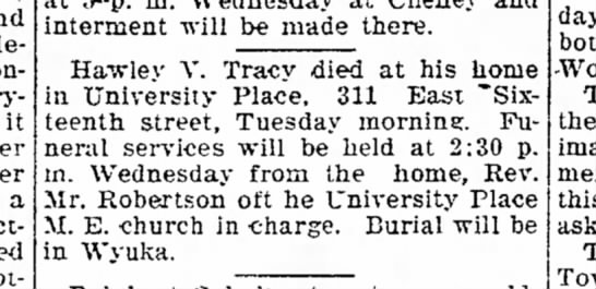 Obit Tracy, Hawley 1920 Lincoln Evening Journal -