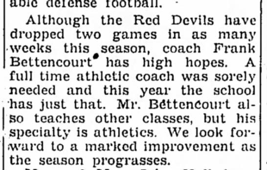 1951- Frank Bettencourt coaches Red Devils -
