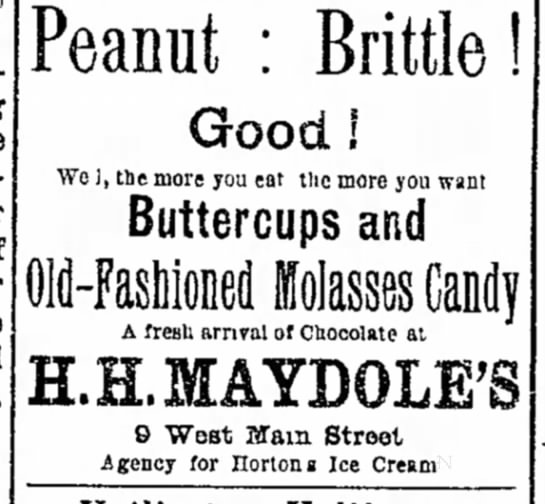 """""""The more you eat, the more you want""""--peanut brittle (1893). -"""