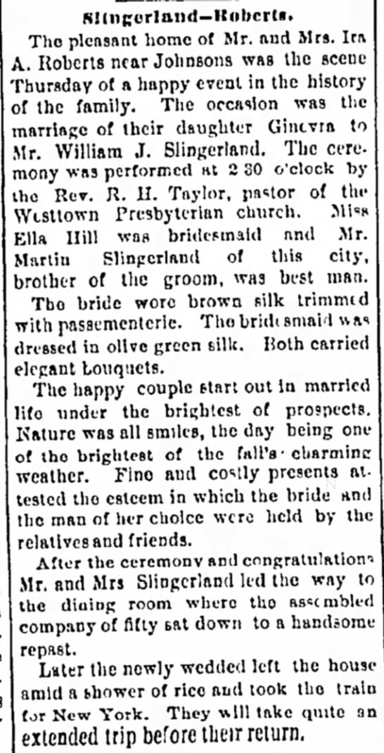 Slingerland Roberts Wedding, Middletown Times-Press, 16 Oct 1891, p. 3 - It the of town this el- in corners even-...