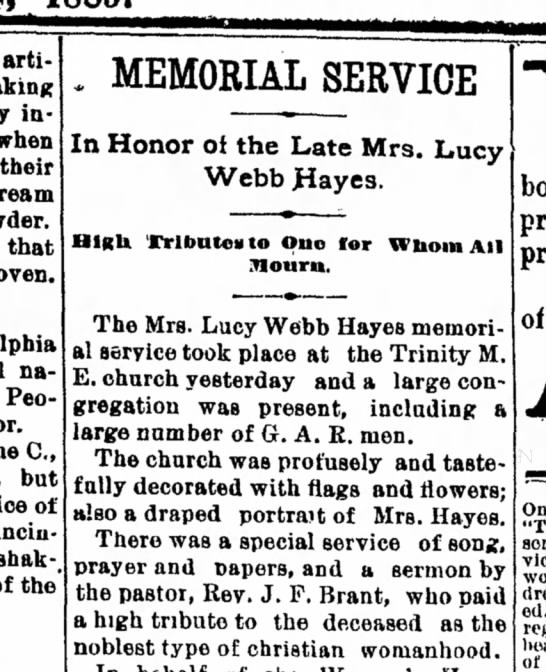 Lucy Hayes Memorial-Sandusky Register, Ohio-p.4-8 July 1889 -