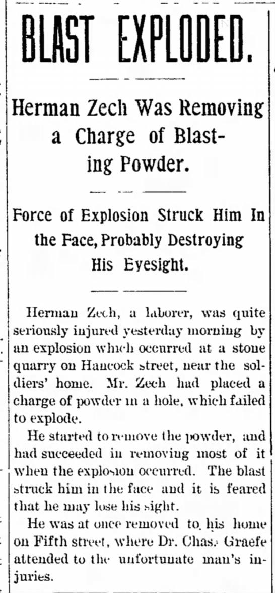 Sandusky Star-Journal posting: Work Injury 22 June 1898  -