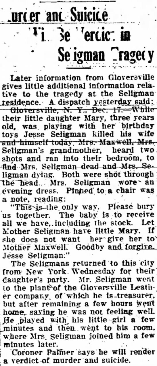 Murder Suicide Jesse Seligman and wife -