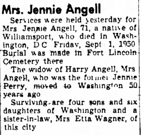 Jennie Angell Obituary mention of Harry Angell 6 sept 1950 -