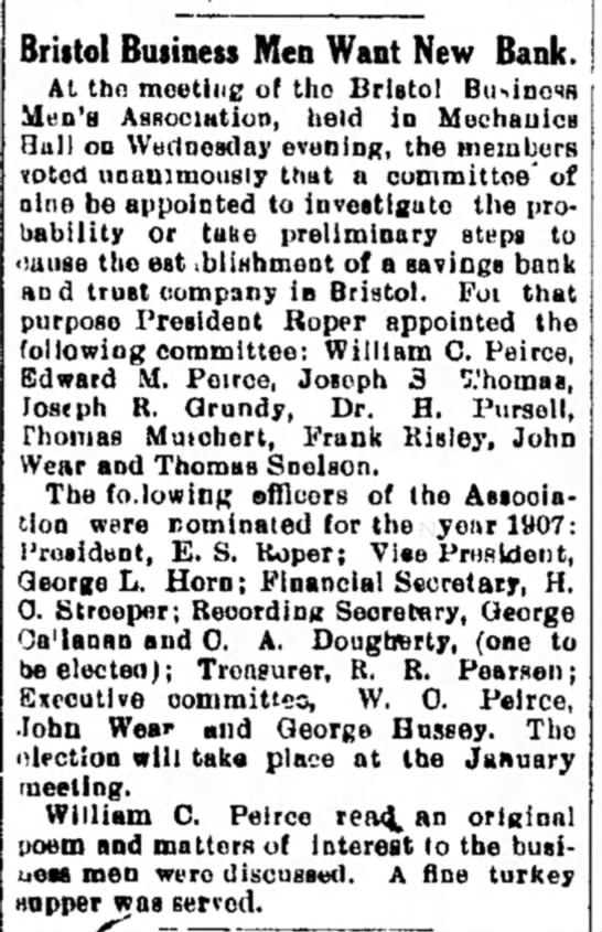 Bristol Business Men's Association 12/14/1906 -