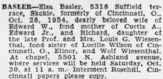 Elsa Basler obit 1954 Rosehill -