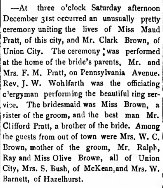 Brown, (Evening Democrat, Warren, Pennsylvania; 5 Jan 1899) -