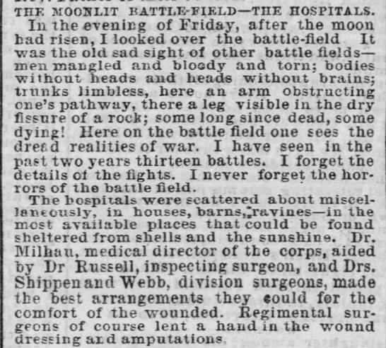 Description of Gettysburg battlefield casualties and hospitals - the moonlit battle-field the hospitals. In the...