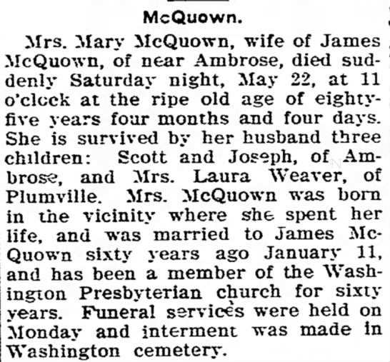 Mary Warden McQuown obit - assistant cooks, McQuown. Mrs. Mary McQuown,...