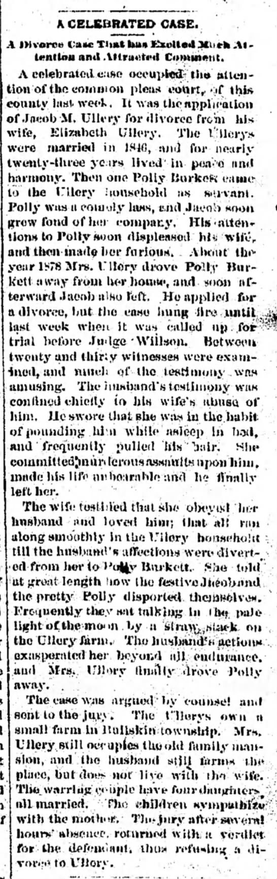 Ullery divorce case/Polly Burkett implicated Feb 1883 - . ability. Bap- tho first his never lo- four...