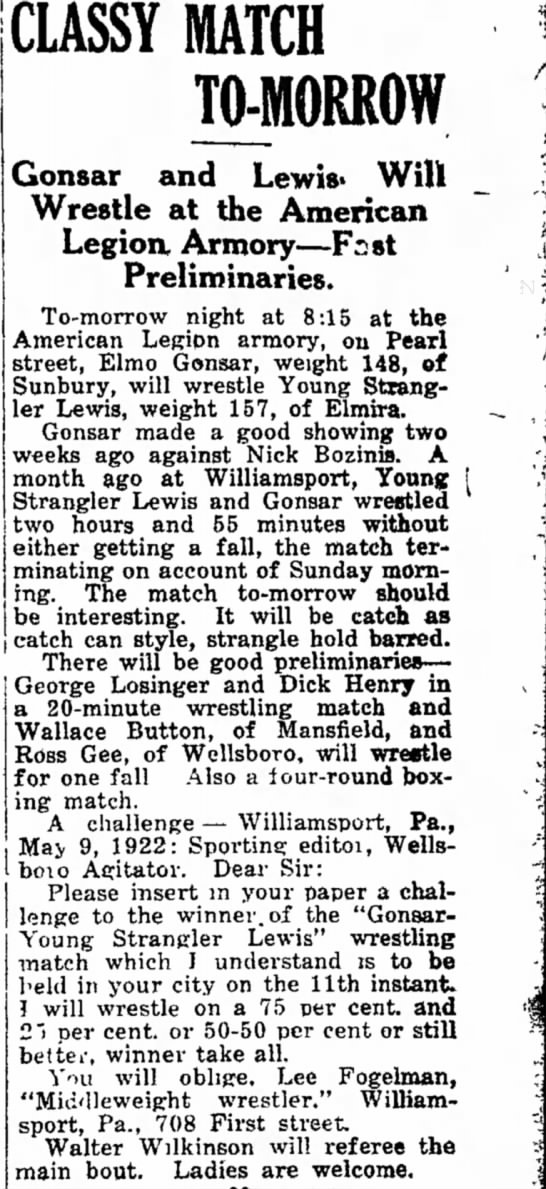 Ross Gee wrestling? 10 May 1922 -
