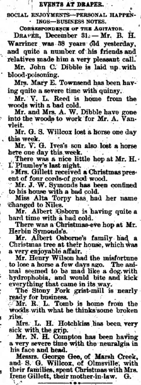 1893 4 January Christmas Irene Gillett -