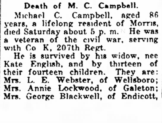 MichaelCampbellObit 16Nov1921 - 1895, became brother, of M. C. Campbell....