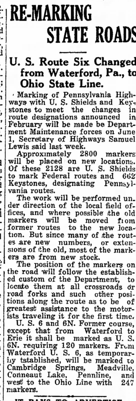 US 6-6N work, May 18, 1932 -