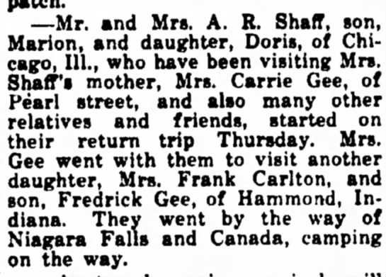 Travel to visit Kathryn Gee Sep 7 1927 -