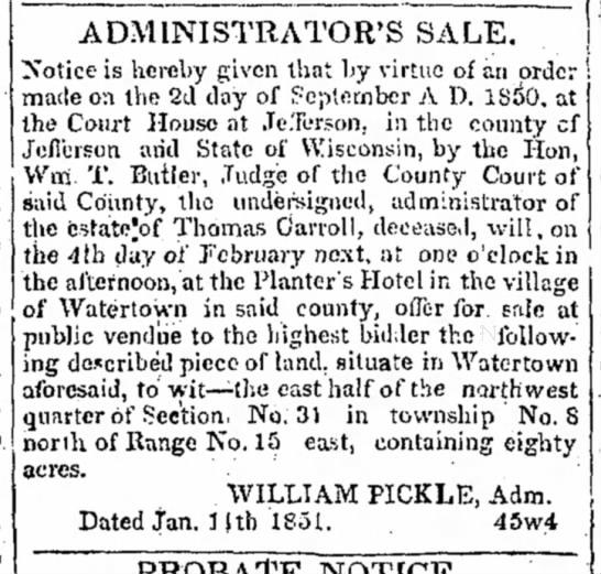 Thomas Carroll estate13 jan 1851 -