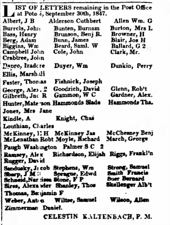 List of Letters remaining in the Potosi Post Office- 30 Sep 1847 with names. - seen the of the railroad JOth to ; and Creek;...