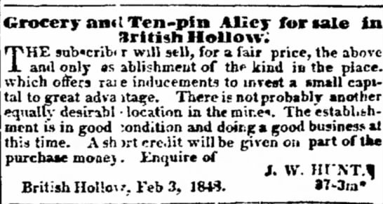 Grocery & Ten-pin Alley for sale in British Hollow- 23 Mar 1848- The Potosi Republican Newspaper. -