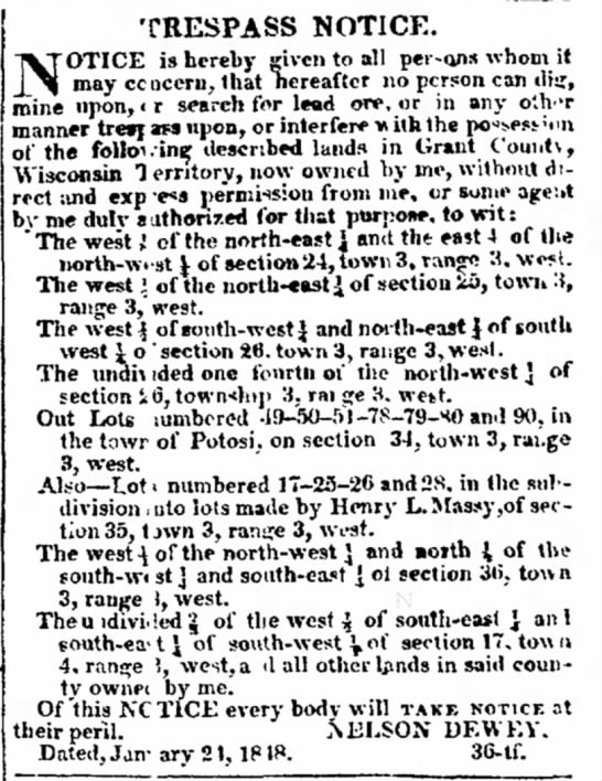 Trespass Notice by Nelson Dewey- 23 Mar 1848 -