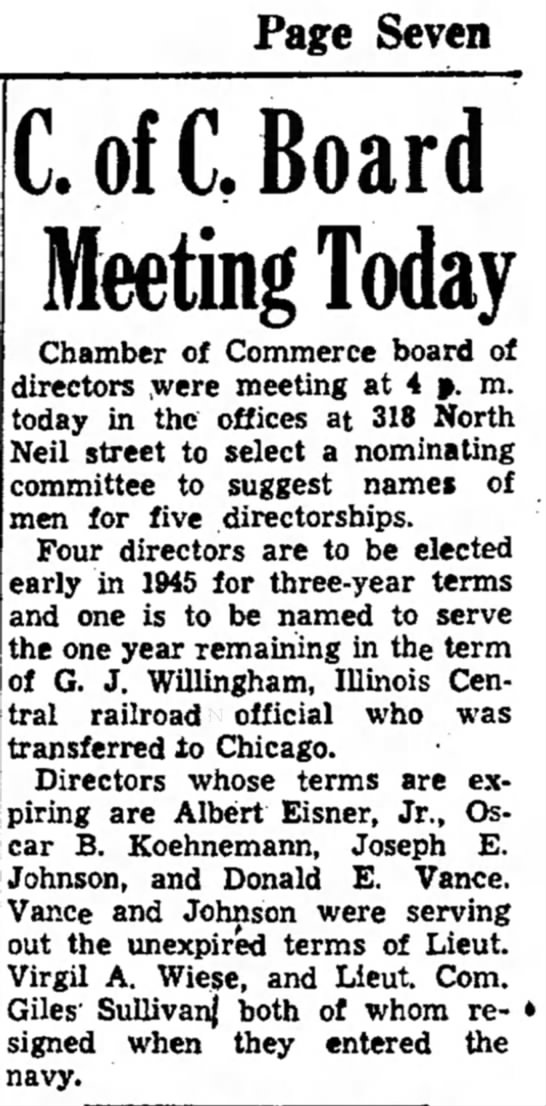 Virgil A Wiese C of C Board- Evening Courier- Champaign 21 Dec 1944 -
