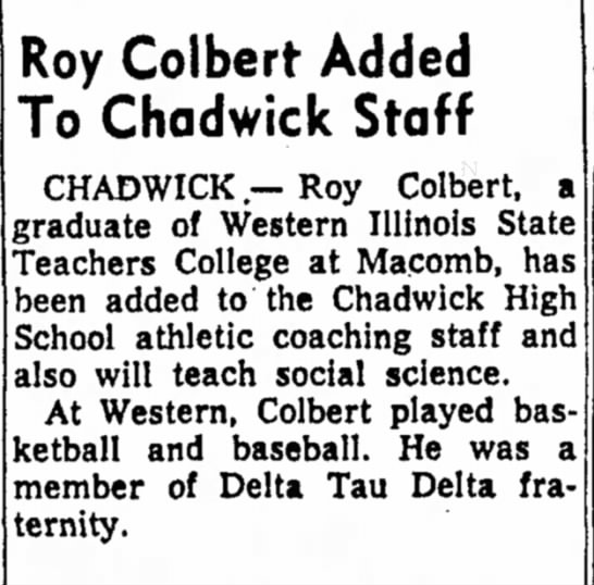 Roy Colbert added to Chadwick High School staff -