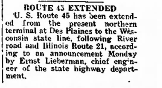 US 45 extended, March 8, 1935 -
