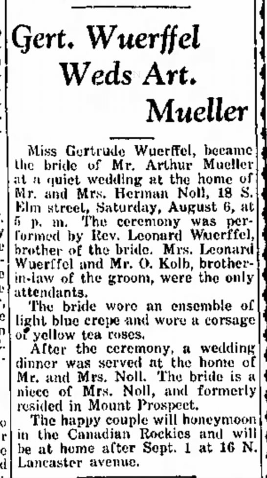 Gertrude Wuerffel marries Arthur Mueller -