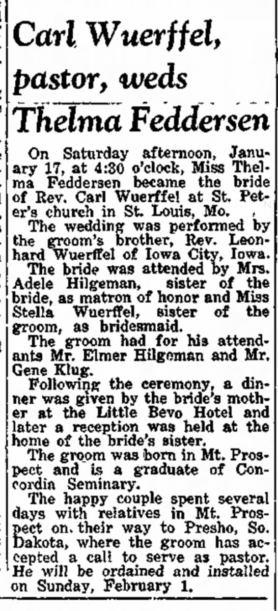 Carl Wuerffel marriage, brother of Leonhard -